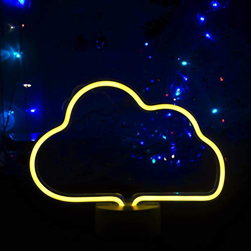 Cloud Neon Sign Neon Night Lights LED Light up Sign Wall Decor Light for Wedding Sign Birthday Party,Camping,Kids Room, Living Room,Bedroom (Warm White)