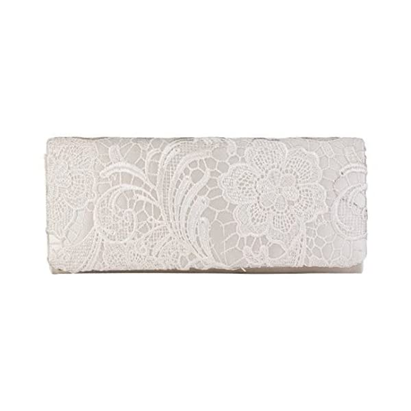 Womens Ivory Satin Ladies Floral Lace Small Bridal Party Evening Clutch Bag Handbag - clutches