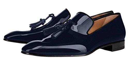 Gjøk Patent Lær Sko Svarte Loafers Med Dusker Blå