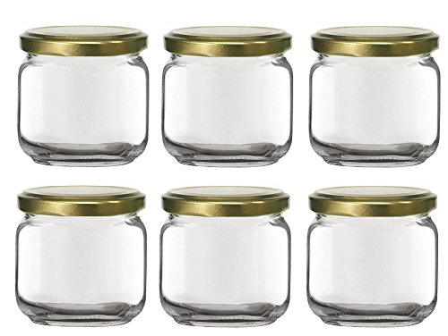 Nakpunar 6 pcs, 6.75 oz Square Glass Jars with Gold Lids - Rounded Edge - Made in Italy (Gold) -