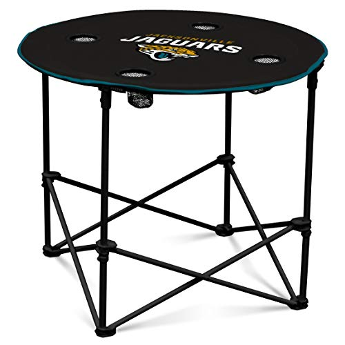 Jaguars Jacksonville Table - Jacksonville Jaguars  Collapsible Round Table with 4 Cup Holders and Carry Bag
