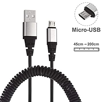 Cable Premium de Carga Micro USB de 2 Metros y en Espiral. Cable en Espiral USB 2.0 a Micro USB con Conectores con Carcasa de Aluminio para una Mayor ...