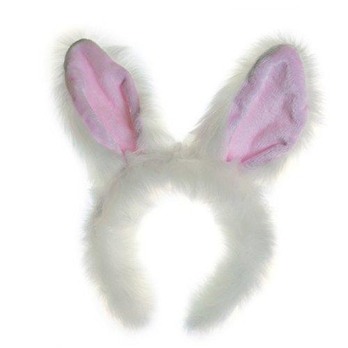 Wildlife Tree Plush White Rabbit Ears Headband Accessory for Bunny Costume, Cosplay, Pretend Animal Play or Forest Animal Costumes (Rabbit Head Costumes)