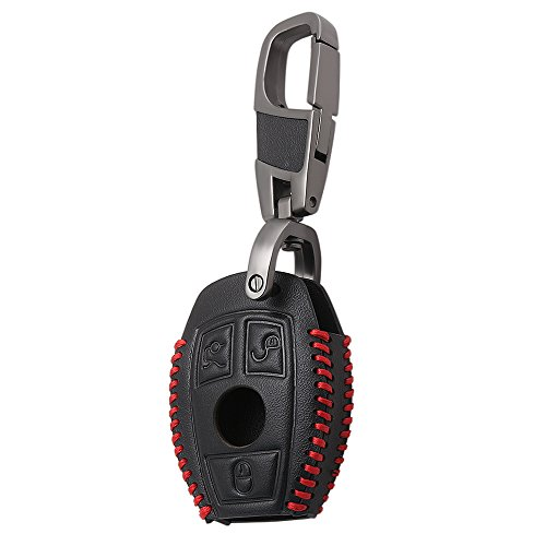 Leather Men Car Key Bag Case Cover Key Holder Chain For Mercedes Benz W203 W205 W210 W211 W212 W124 W202 W204 AMG Accessories Red
