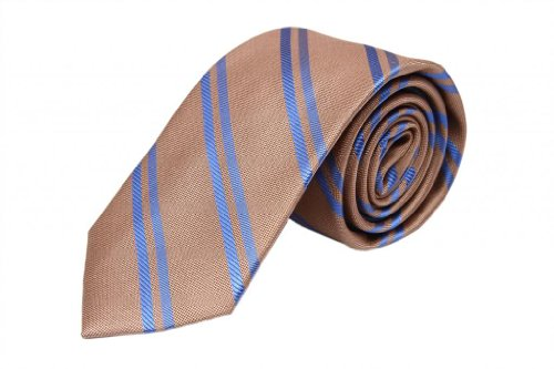 Zavetti Men's Tie Jacquard Woven Silk and Cotton Herring Stripe Brown with (Herring Stripe)