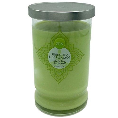 - Green Tea Bergamot Scented Tumbler Zen Candle With Notes of Herbal Moss Citrus Lemon