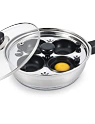 Eggssentials Poached Egg Maker - Nonstick 4 Egg Poaching Cups - Stainless Steel Egg Poacher Pan FDA Certified Food Grade Safe PFOA Free with Bonus Spatula