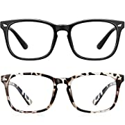#LightningDeal Blue Light Blocking Glasses Square Computer Glasses Women/Men,Wearpro 2PACK Nerd Reading Gaming Glasses Non Prescription