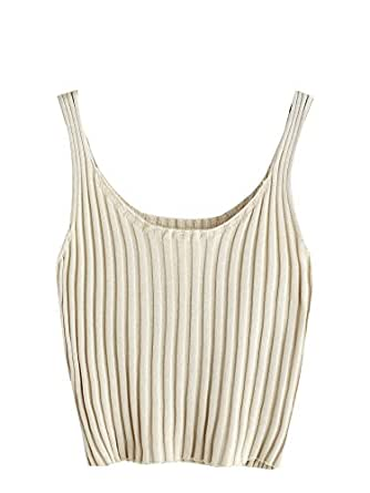 SweatyRocks Women's Ribbed Knit Crop Tank Top Spaghetti Strap Camisole Vest Tops Apricot One Size