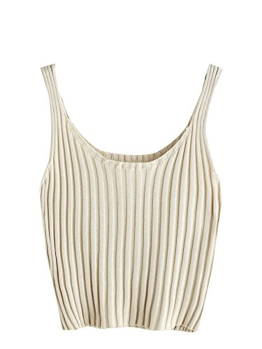 (SweatyRocks Women's Ribbed Knit Crop Tank Top Spaghetti Strap Camisole Vest Tops (Small, Apricot))