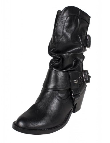 Weskit By Soda Western-styled Mid-calf Slouchy Buckle Boo...