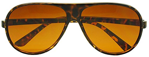 Sunglass Stop - Demi Tortoise Round Plastic Aviator Large Sunglasses w/ Blue Blocking Amber - Blue Sunglasses Tortoise