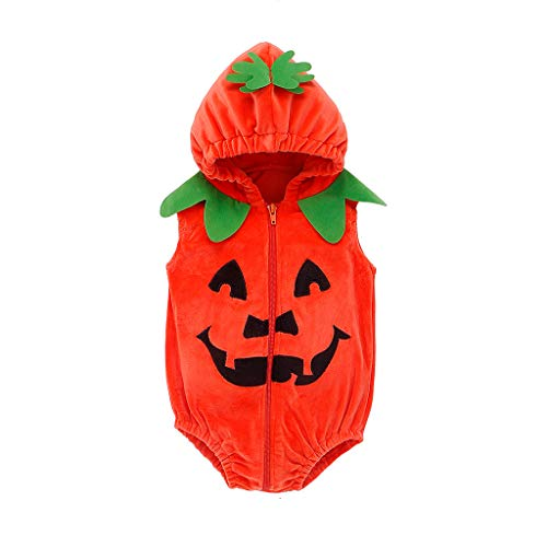 Toddler Kids Romper,Crytech Winter Warm Fleece Pumpkin Zipper Hoodie Jumpsuit Funny Tooth Print Hooded Bodysuit for Baby Girl Boy Photoshoot Halloween Party Costume Clothes (0-6 Months, Orange)