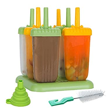 Lebice Popsicle Molds - Bpa Free - Homemade Ice Pop Maker - Drip Guard and Tray - High Quality - Set of 6 - Lifetime guarantee