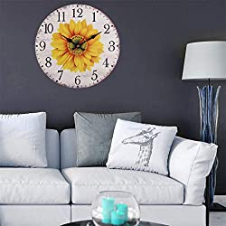 FIged European Retro Pastoral Wind Sunflower Wall Clock Home Living Room Decorative Wall Clock 11.7inch