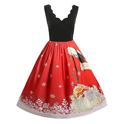 Womens Plus Size Christmas Vintage Sleeveless Swing Dress Lady Santa Claus Printed Evening Party Dress