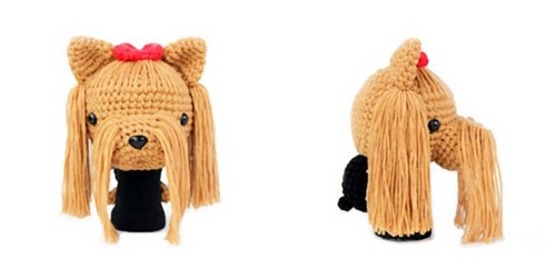- Amimono Yorkshire Terrier Driver Golf Head Cover, Light Brown/Red, 460cc