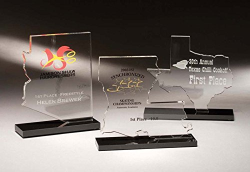 Custom Shaped Acrylic - State Shaped Acrylic Awards with your logo & 4 lines of custom text
