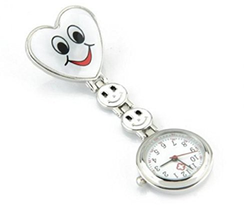 NURSE'S Clip on Pocket Watch White Heart -2nd Hand. Perfect Gift for the NURSE in Your Life from From The Heart