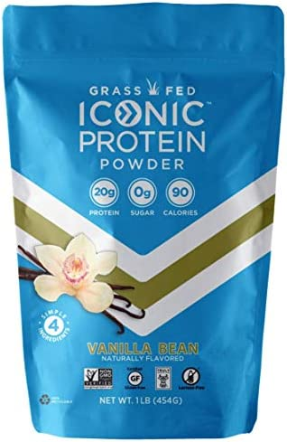 Iconic Protein Powder, Vanilla Bean, 1 Lb 18 Servings Sugar Free, Low Carb Protein Shake 20g Grass Fed Whey Protein Casein Protein Lactose Free, Gluten Free, Kosher, Non-GMO Keto Friendly