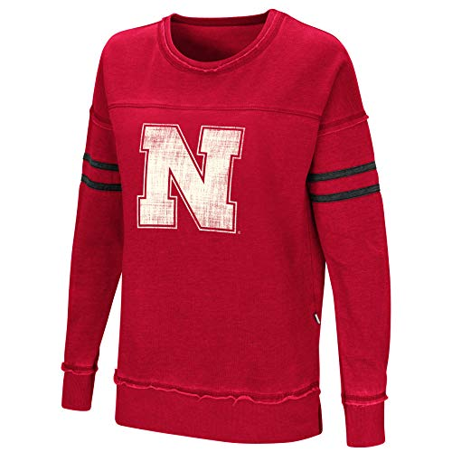 Colosseum Women's NCAA-Home Game- Fleece Retro Vintage Pullover Sweatshirt-Nebraska Cornhuskers-Scarlet-Medium
