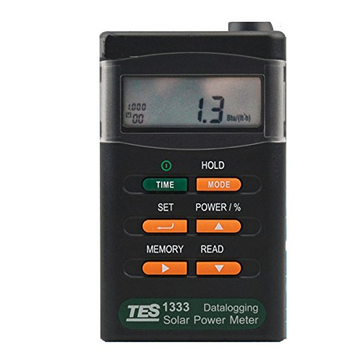 Professional Solar Power Meters Digital Radiation Detector Solar Cell Energy Tester Datalogging , Range: 2000W/m 2 634Btu/(ft 2 h) , Resolution: 0.1W/m21Btu/(ft2h) by Unknown