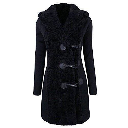 Parka Capucha Abrigo Negro Abrigo Botones Invierno Mujer Abrigos con de Sudadera CICIYONER de Abrigo nB0qfCxnw1