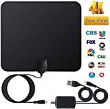 TV Antenna,2019 Newest Indoor Freeview TV Aerial,Up to 100 Miles Digital HDTV Antenna with 13 FT Long Cable Support for 4K 1080P Digital HD Channels VHF/UHF/FM