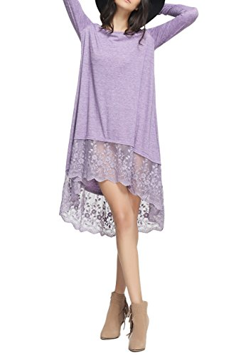 OMZIN Women's V-Neck Long Sleeve Casual Loose T-Shirt Blouse Top Dress Purple S