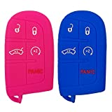 Coolbestda 2Pcs Key Fob Remote Cover Protector Skin Jacket for Jeep Grand Cherokee Dodge Challenger Charger Dart Durango Journey Chrysler 300