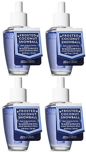Bath and Body Works Frosted Coconut Snowball Wallflowers Fragrances Refill. 0.8 Oz. 4 Set.