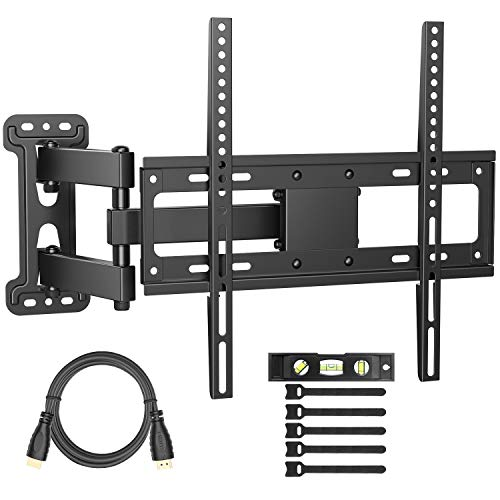 PERLESMITH TV Wall Mount Bracket Full Motion Single Articulating Arm for Most 32-55 inch LED, LCD, OLED, Flat Screen, Plasma TVs with Tilt, Swivel and Rotation Up to 77lbs VESA 400x400mm -