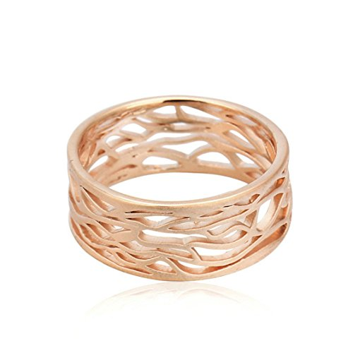 PSRINGS Water Ripple Hollowed-out Wire Drawing Process Gold Plated Lover's Ring 7.25 (Lil Viking Costume)