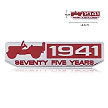 New 1941 75 Years Anniversary Emblem Badge Decal Sticker for Jeep Willys Cherokee (Red(1941))