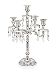 Godinger Silver Art Tradition Nickel Plated 5 Light Candelabra With Hanging Crystal Drops