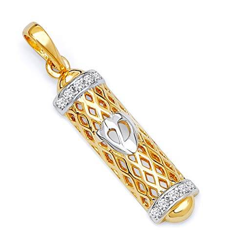 - GoldenMine 14k Two Tone Gold Mezuzah Pendant (Size : 26 x 5 mm)