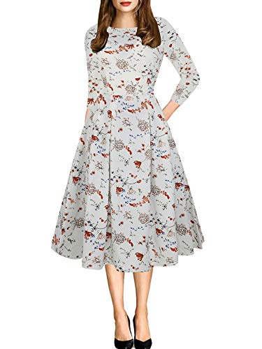oxiuly Women's Vintage Patchwork 3/4 Sleeve Pockets Swing Casual Work Autumn Fall Wedding Party Dress OX165 (XXL, White Floral)