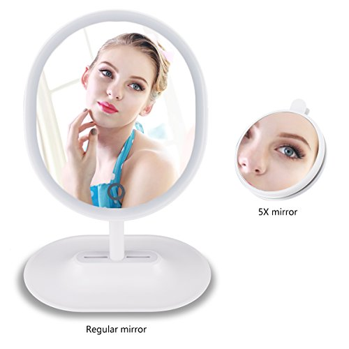 Led Makeup Mirror Lighted Vanity Mirror with 1 X 5X Magnification ,Touch Screen,Rechargeable Cosmetic - Case Sunglasses Storage Ford