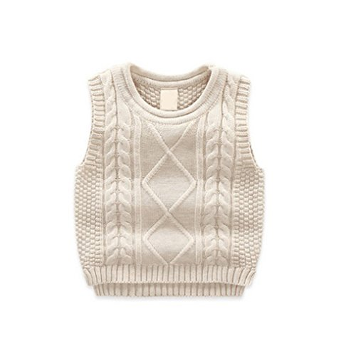 Unisex Baby Boys Girls Cable Knit Sweater Vest Kids Winter Pullover Waistcoat Beige 100 -