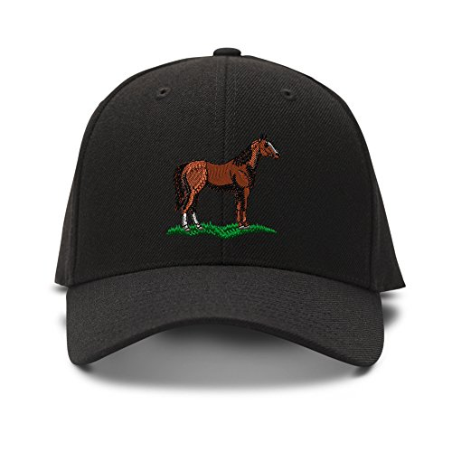 Quarter Horse Embroidery Embroidered Adjustable Hat Baseball Cap Black