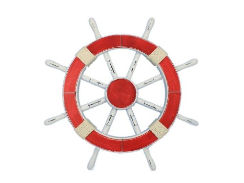 "Rustic Red Ship Wheel 18"" - Beach Bedroom Decorating Ideas - Ship Wheel"
