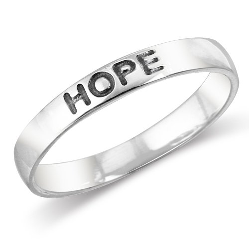 Hope Stackable Ring - 925 Sterling Silver HOPE Stackable Friendship Band Ring - Size 7