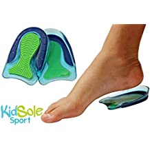 KidSole Sport Traction Shock Absorbing Lightweight Gel Heel Cups For Kid's With Sensitive Heels, Heel Spurs, Plantar Fasciitis, or Ankle Pain (Kid's Size 3-7) 2 Pairs, 4 Single Heelcups