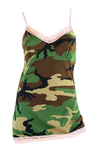 Nyteez Womens Woodland Camo with Pink Lace Nightgown