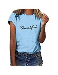 Women's Graphic T-Shirts Short Sleeve Letter Print Scoop Neck Teen Girls Casual Tops Basic Tees Plus Size by URIBAKE