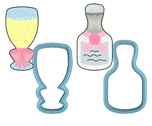 Champagne Cookie Cutter Set - American Confections - Bottle, Flute, Wedding - MADE IN THE USA ()