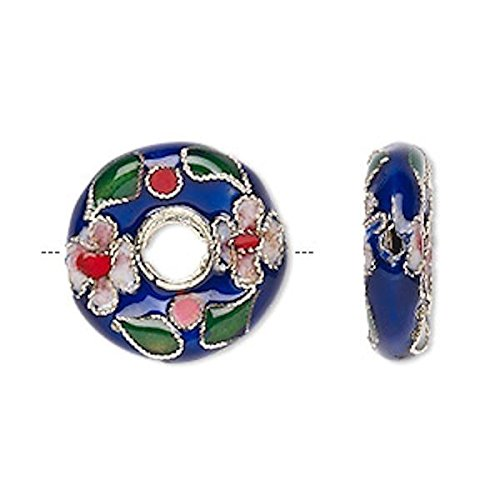4 Gold Plated Cobalt Blue Donut Cloisonne Beads ~ 20mm Perfect for Earrings, Necklaces or ()