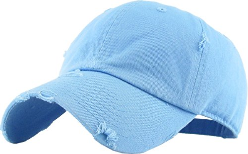 KBETHOS Vintage Washed Distressed Cotton Dad Hat Baseball Cap Adjustable Polo Trucker Unisex Style Headwear (Vintage) Sky Blue Adjustable Blue Sky Cotton Cap