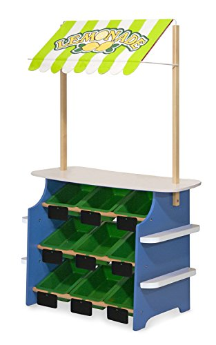 Melissa & Doug Wooden Grocery Store and Lemonade Stand - Reversible Awning, 9 Bins, Chalkboards