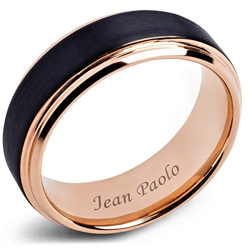 - Jean Paolo Mens Rings 8mm Black and Rose Gold Tungsten Rings for Men and Women Wedding Bands Engagement Ring Comfort Fit